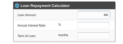 $200 payday loan calculator